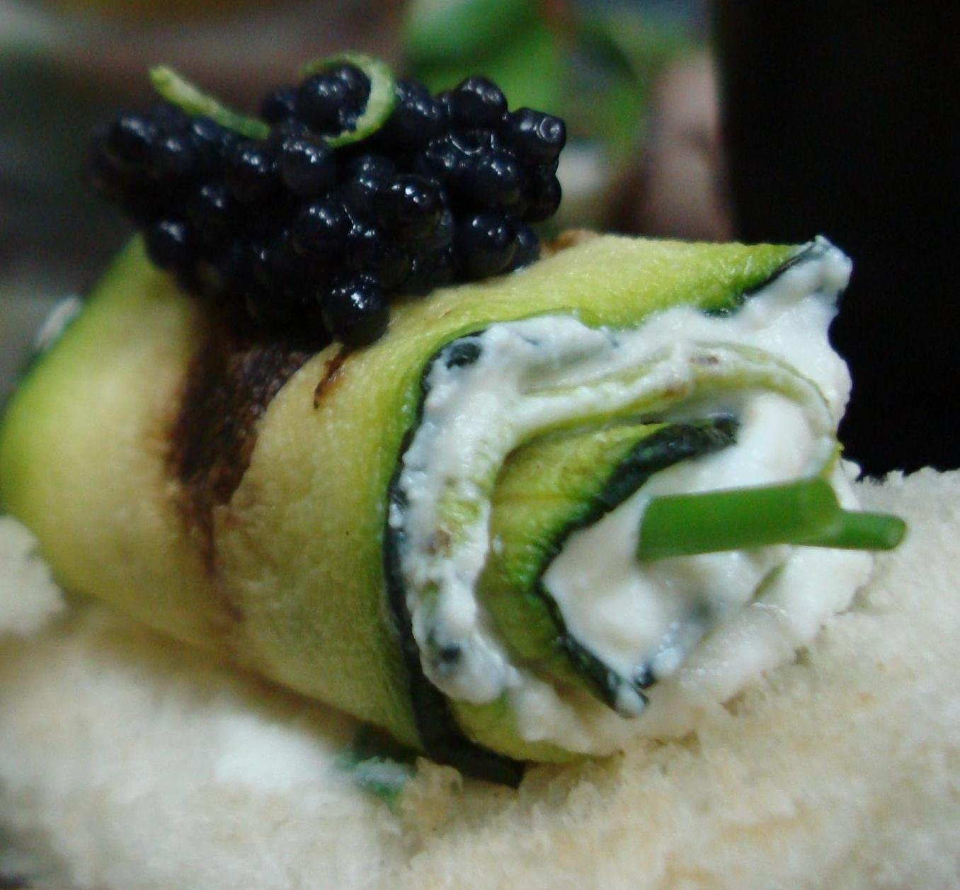 Grilled Zucchini rolled with Ricotta Cheese & topped with Caviar