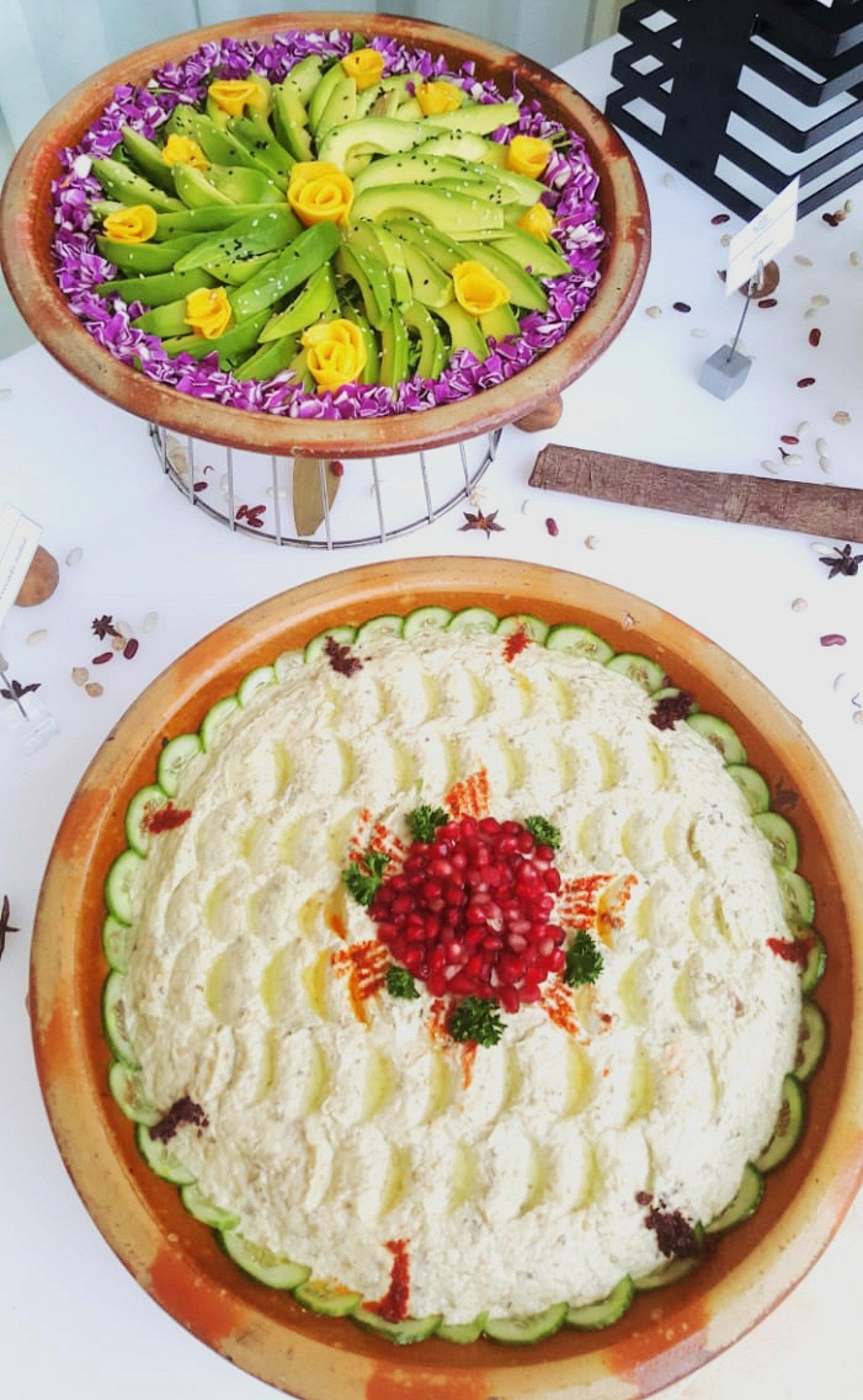 Moutabbal and Avocado salads